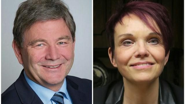 Der Nidwaldner Regierungsrat Res Schmid und Landratspräsidentin Michèle Blöchliger.