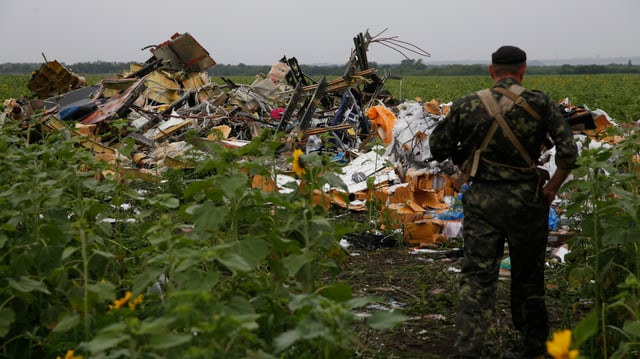 Ein prorussischer Separatist steht in einem Feld mit Flugzeugtrümmern.