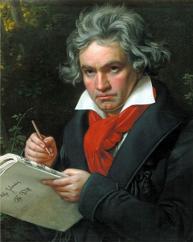 Das Portrait zeigt Ludwig van Beethoven in mittlerem Alter. Er trägt einen schwarzen Gehrock, ein weisses Hemd und einen leuchtend roten Schal. In der linken Hand hält er ein Notenheft. Auf der Rückseite dieses Notenhefts steht in schöner Schreibschrift geschrieben: «Missa Solemnis». Die Vorderseite des Notenheftes zeigt Notenlinien und den Anfang des Wortes: «Credo». In der rechten Hand hält Beethoven einen Stift.