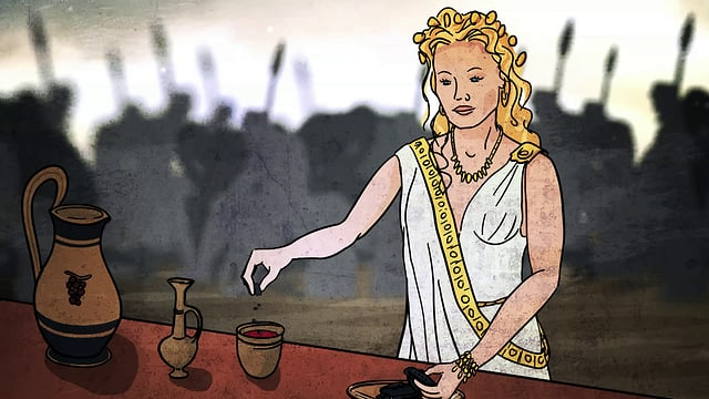 Es ist ein gezeichnetes Bild. Die griechische Göttin Helena mischt Opium in ein Weinglas. Neben dem Weinglas befinden sind zwei Gefässe auf dem Tisch.