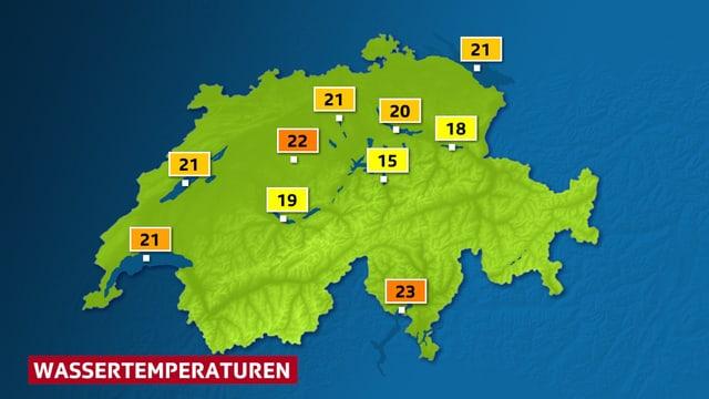 Seetemperaturen am Wochende - auf der Schweizer  Karte.
