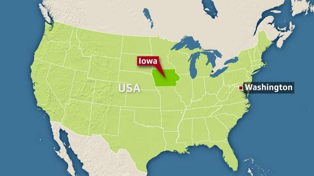 Karte der USA mit Iowa und Hauptstadt Washington markiert.