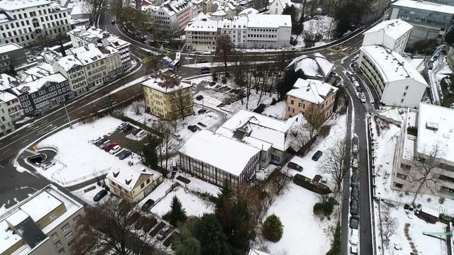 Platztor-Areal von oben, mitten in der Stadt St. Gallen