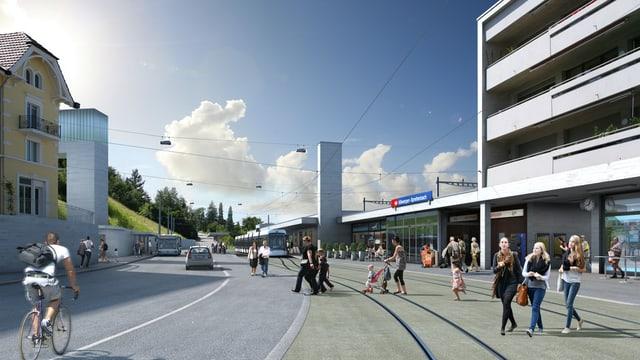 Die Computervision einer Haltestelle der geplanten Limmattalbahn mit Menschen und Geleisen