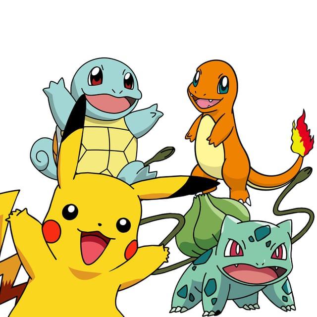 Shiggy, Glumanda, Pikachu und Bisasam