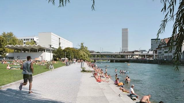 Leute, die am Flussufer sonnen und joggen