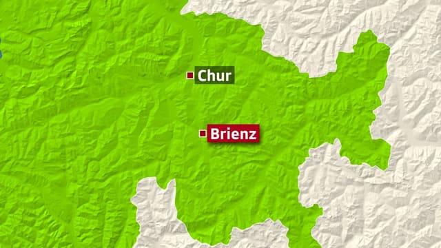 Karte mit Brienz und Chur.