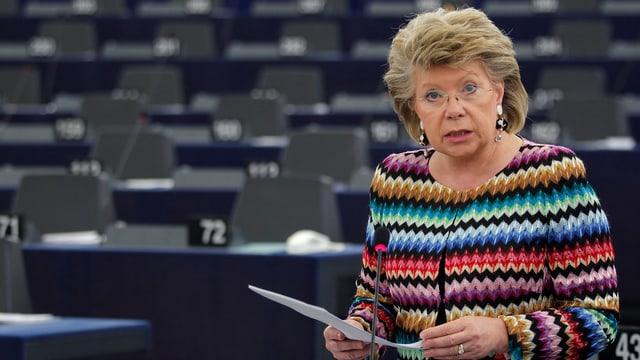 Viviane Reding im Gebäude des EU-Parlaments in Strassburg