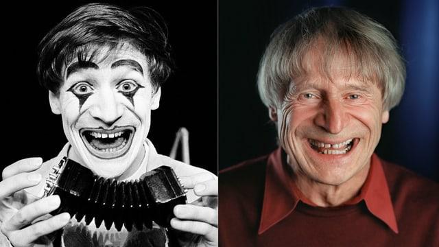 Zwei Porträt-Bilder von Clown Dimitri: Ein Schwarz-Weiss-Bild zeigt Dimitri mit Clown-Make-Up und Handorgel lachend. Die neuere Farbaufnahme nebenan zeigt Dimitri als älteren Mann mit grauen Haaren und lachend.