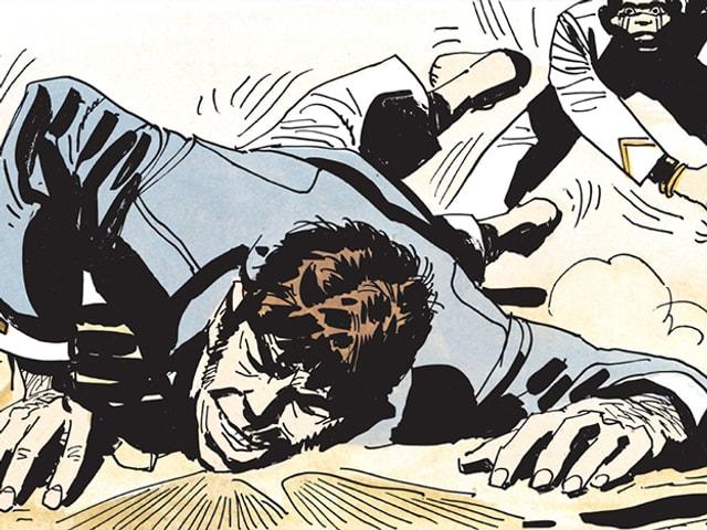 Zeichnung: Ein Mann fällt zu Boden, hinter ihm steht ein weiterer Mann, der ihm einen Shclag verpasst hat.