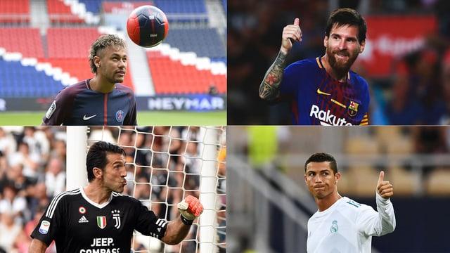 Collage Neymar/Messi/Buffon/Ronaldo