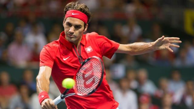 Roger Federer im Davis-Cup-Halbfinal gegen Italien.