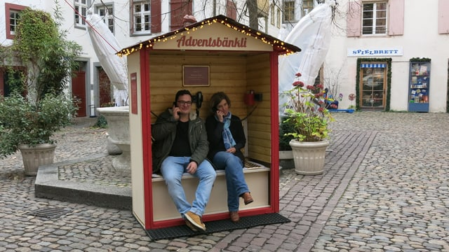 Adventsbänkli auf dem Andreasplatz