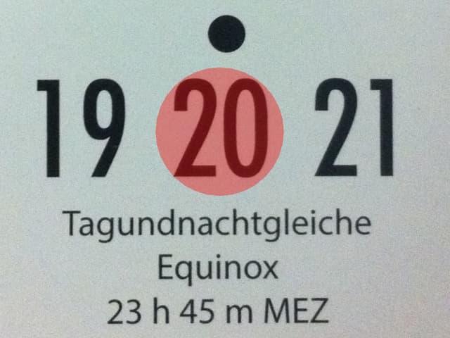 Auf dem Bild ein Kalenderblatt, rot eingekreist der 20. März. Frühlingsanfang.