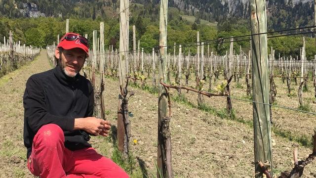Il maletg mussa il pur da vin Luzi Boner en sia vigna a Malans