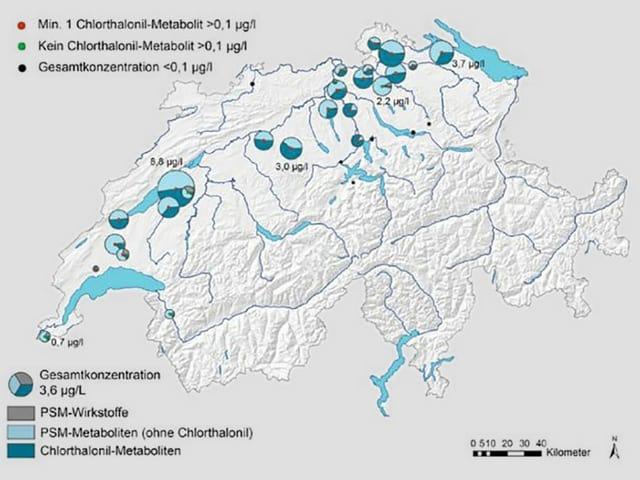 Eine Schweizer Karte mit blauen Punkten.
