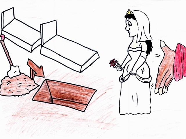 Eine mächtige Hand schiebt eine Mädchen-Braut in ein Grab.
