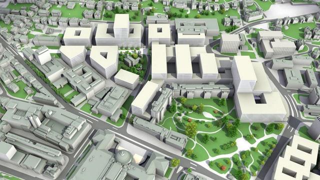 Das neue Gesicht für das Hochschulquartier, wie es im Masterplan vorgesehen ist (Visualisierung).