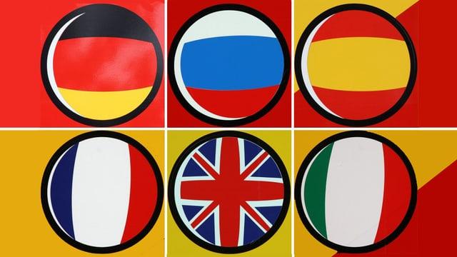 Eine Grafik mit sechs Kreisen, die für die Sprachen Deutsch, Niederländisch, Spanisch, Französisch, Englisch und Italienisch stehen.