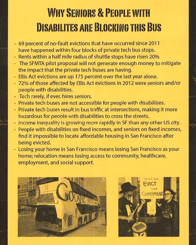 Gelbes Flugblatt, auf dem die Gründe der Bus-Blockierung aufgeführt sind.