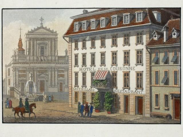 Zeichnung von Hotel und Kathedrale
