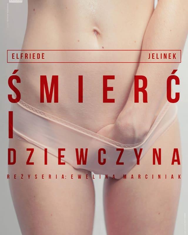 Frau mit Hand in der Unterhose, darauf polnischer Text.