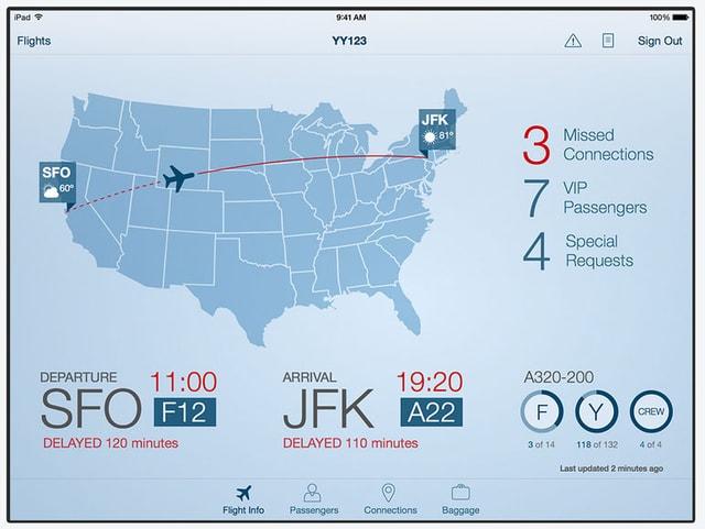 Screenshot App für Piloten:  Eine Karte der USA mit Flugrouten.