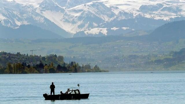 Ein Anglerboot vor dem Panorama der Glarner Alpen auf dem Zürichsee
