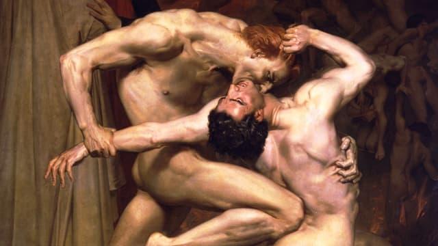 Ein Gemälde von William Bouguereau zeigt einen Mann, der einem anderen in die Kehle beisst.