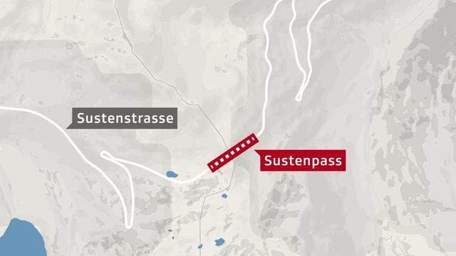 Karte vom Sustenpass.