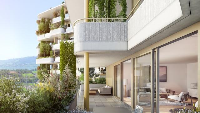 Hochhaus mit geschwungener Terrasse von der Pflanzen hängen