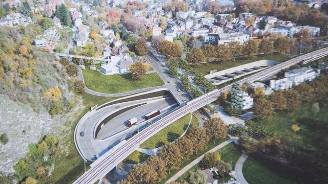 Vogelperspektive auf Autobahnabschnitt