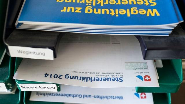 Ablage mit Wegleitung und Formular zur Steuererklärung 2014