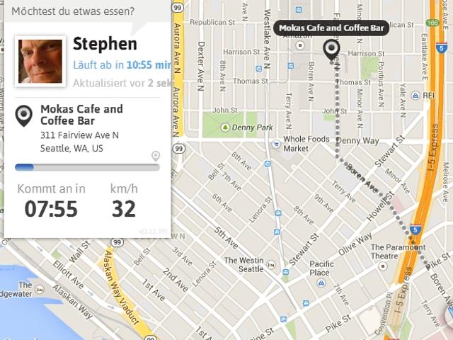 Karte mit Aufenthaltsort eines Mannes eingezeichnet; nebenan sein Profil.