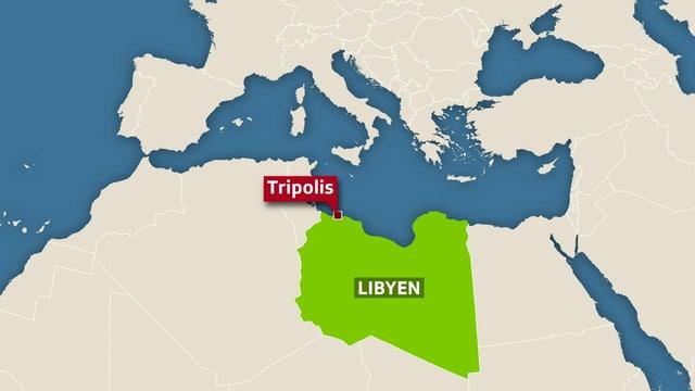 Karte von Libyen.