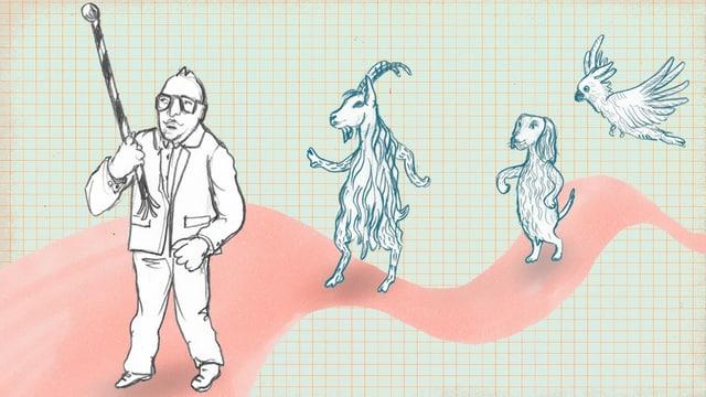Zeichnung: Dürrenmatt geht vor einem Geissbock, einem Hund und einem Kakadu