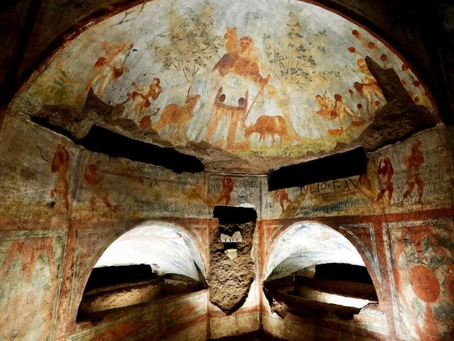 Ein Fresko in den Katakomben der Domitilla in Rom.