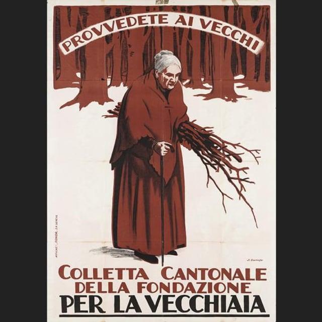 Illustration mit einer alten Frau, die Zweige sammelt.