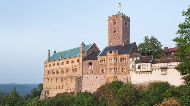 Eine burg mit Turm auf einem bewachsenen Hügel bei schönem Wetter.