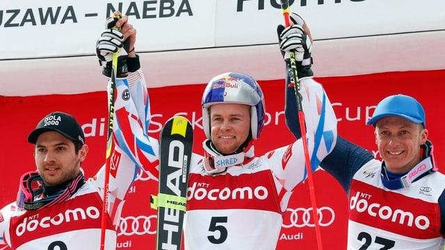 Dapi 45 onns betg pli victoria dubla franzosa en slalom gigant: Alexis Pinturault (amez), Mathieu Faivre (san.) ed il talian Massimiliano Blardone.