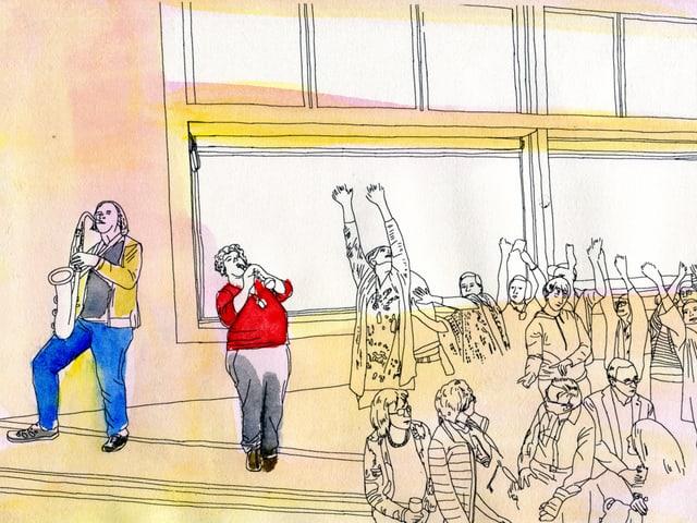 Eine Frau singt, neben ihr spielt ein Mann Saxophon, davor tanzende Menschen.