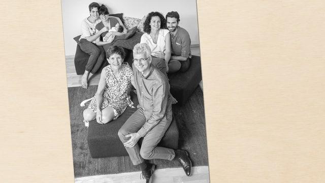schwarz-weisses Familienporträt