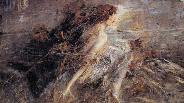 Gemälde, in Erdtönen, zeigt Luisa Casati