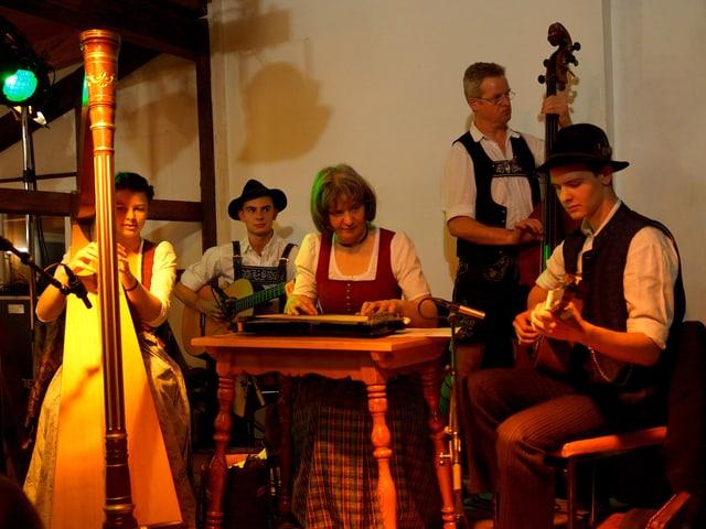 Die fünfköpfige Familie spielt Harfe, Hackbrett, Gitarre und Kontrabass.