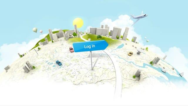 Das Bild zeigt den Startbildschirm des Ortungsdienstes Samsung Dive.