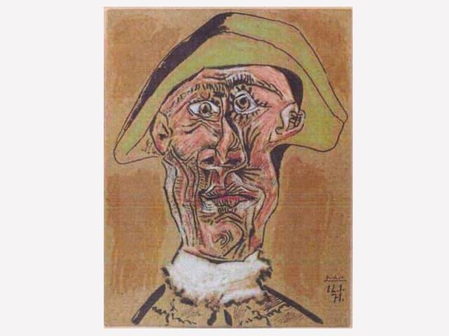 Porträt von Pablo Picasso als abstrakte Darstellung eines Mannes.