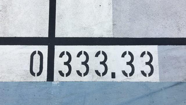Die Zahl 333.33 auf Beton geschrieben.