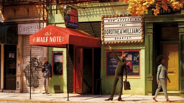 """Szene aus einem Animationsfilm: Ein Mann mit Hut und Aktenkoffer steht vor einem Musikclub und zeigt auf das Schild, auf dem der Clubname """"Half Note"""" steht. Hinter dem Mann an der Wand ist ein Plakat mit der Aufschrift: """"Now appearing, the Dorothea Williams Quartet""""."""