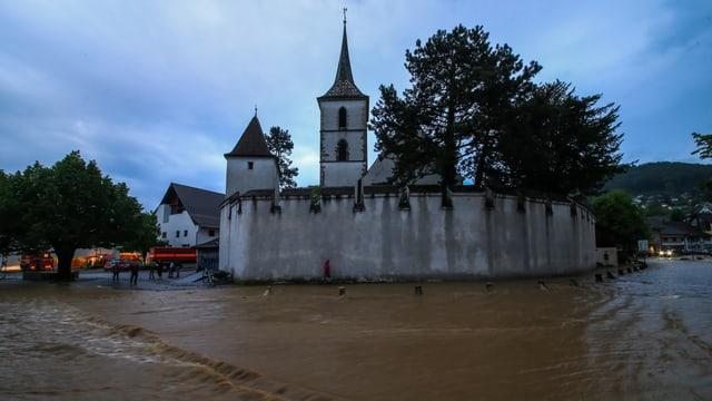Der heftige Regen führte am 14. Mai in Muttenz zu Überschwemmungen.