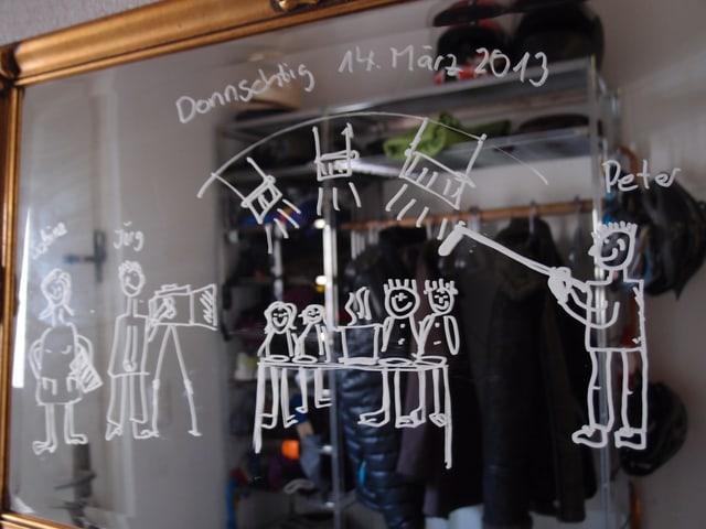 Strichmännchen am Spiegel.
